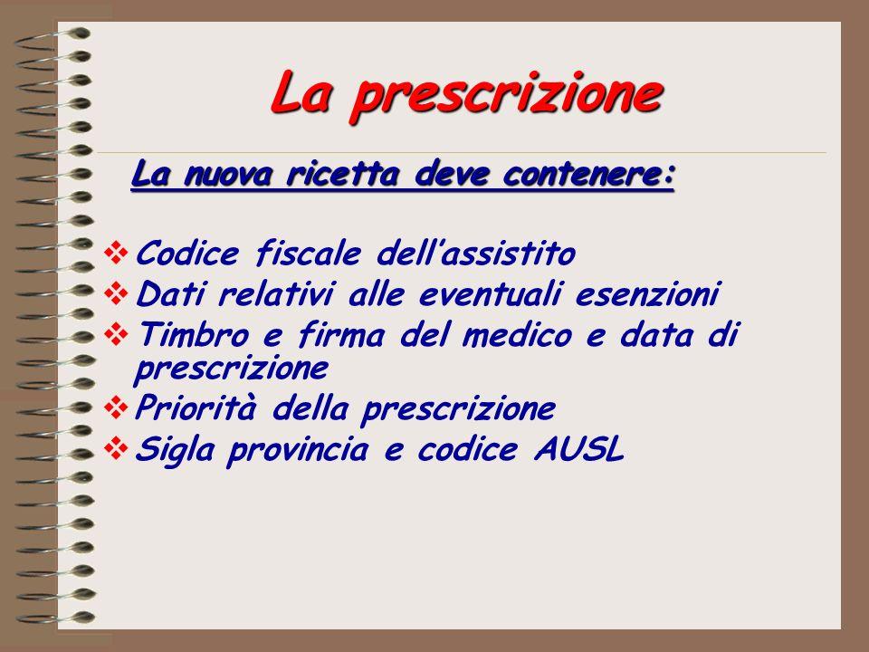 La prescrizione La nuova ricetta deve contenere: Codice fiscale dellassistito Dati relativi alle eventuali esenzioni Timbro e firma del medico e data