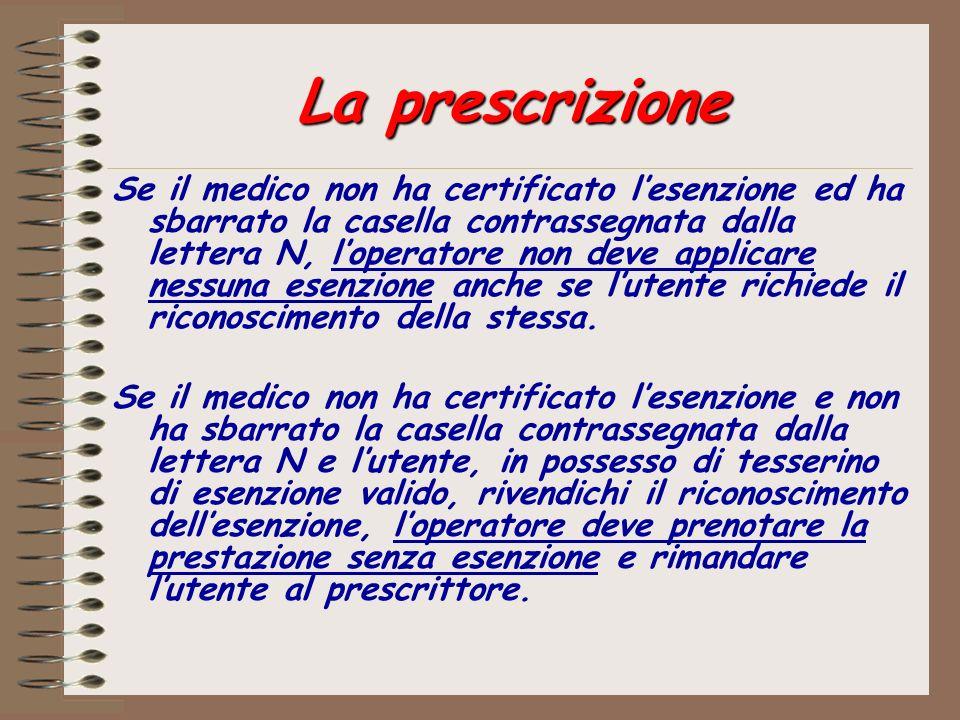 La prescrizione Se il medico non ha certificato lesenzione ed ha sbarrato la casella contrassegnata dalla lettera N, loperatore non deve applicare nes