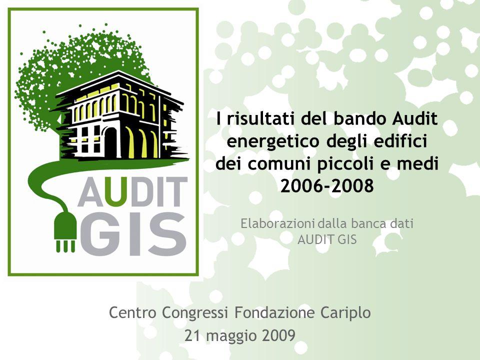 I risultati del bando Audit energetico degli edifici dei comuni piccoli e medi 2006-2008 Elaborazioni dalla banca dati AUDIT GIS Centro Congressi Fondazione Cariplo 21 maggio 2009