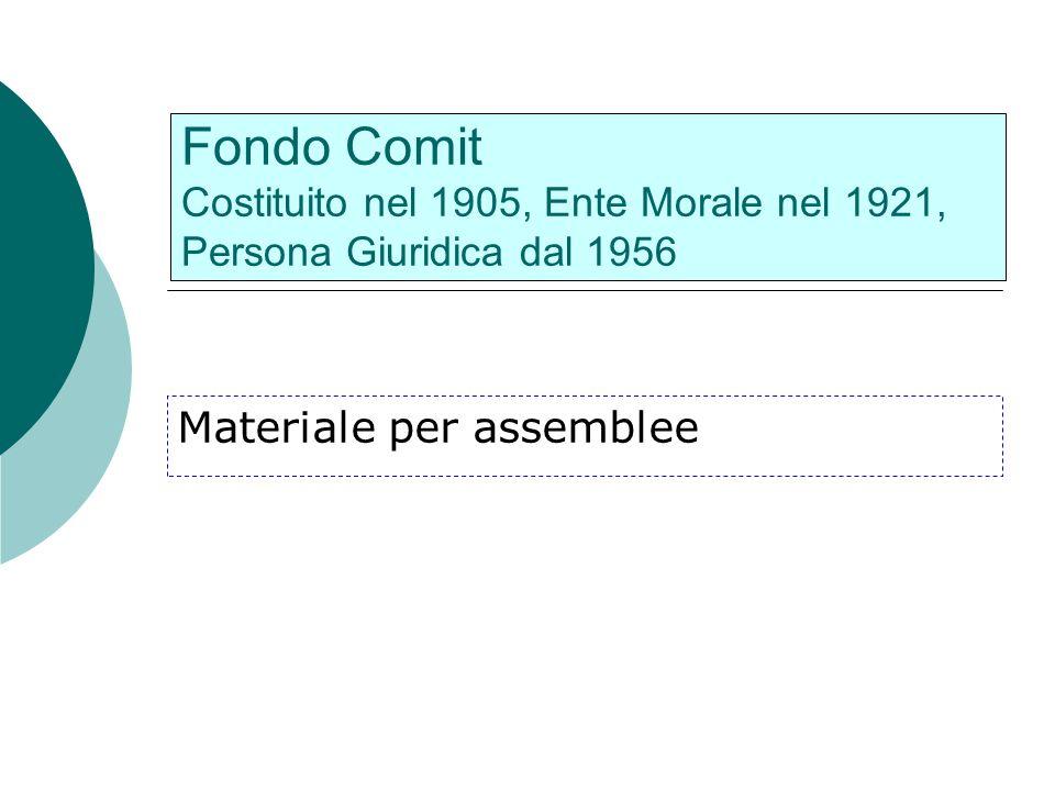Fondo Comit Costituito nel 1905, Ente Morale nel 1921, Persona Giuridica dal 1956 Materiale per assemblee