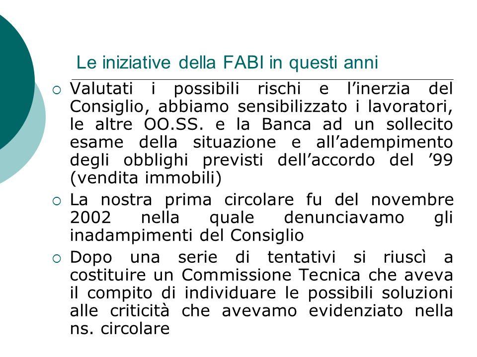 Le iniziative della FABI in questi anni Valutati i possibili rischi e linerzia del Consiglio, abbiamo sensibilizzato i lavoratori, le altre OO.SS.
