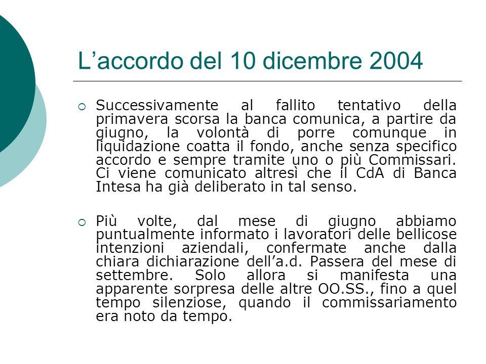 Laccordo del 10 dicembre 2004 Successivamente al fallito tentativo della primavera scorsa la banca comunica, a partire da giugno, la volontà di porre
