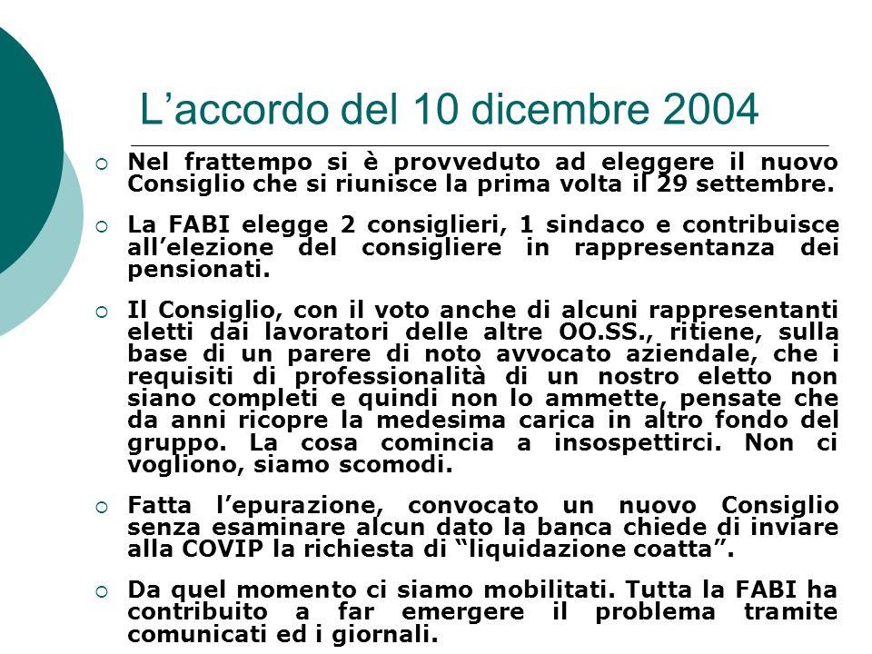 Laccordo del 10 dicembre 2004 Nel frattempo si è provveduto ad eleggere il nuovo Consiglio che si riunisce la prima volta il 29 settembre. La FABI ele