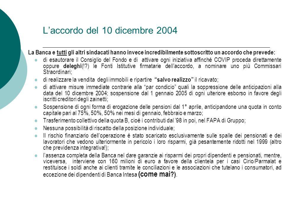 Laccordo del 10 dicembre 2004 La Banca e tutti gli altri sindacati hanno invece incredibilmente sottoscritto un accordo che prevede: di esautorare il