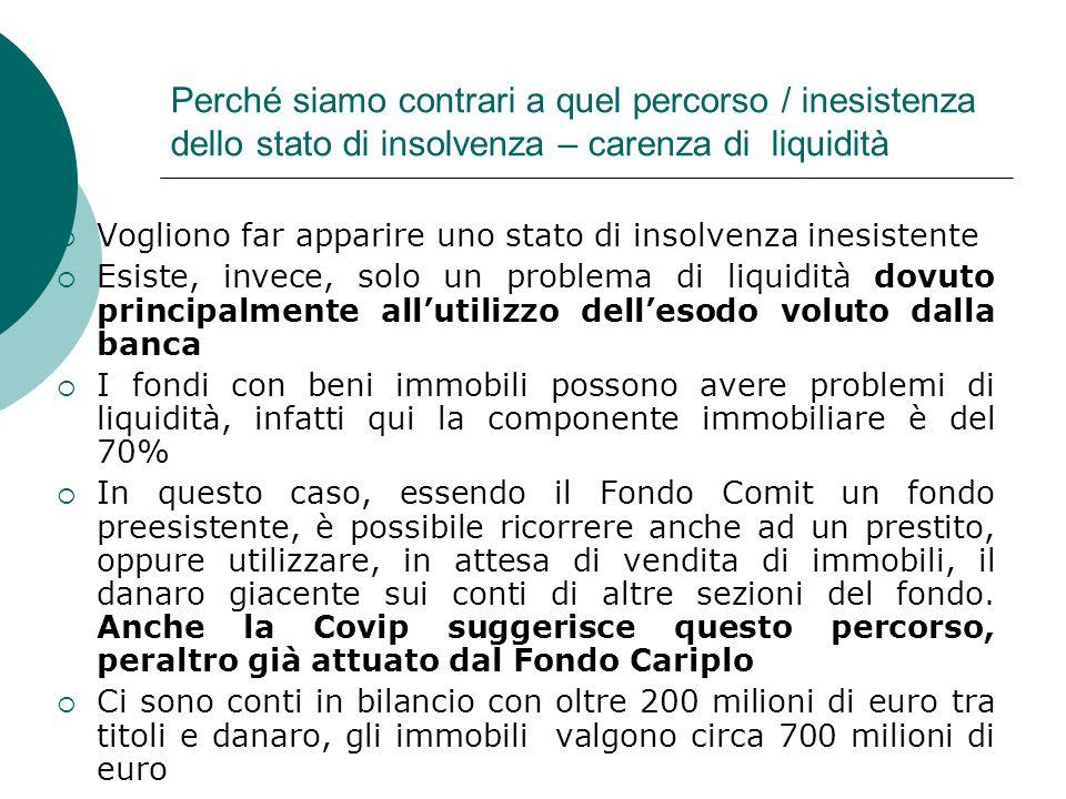 Perché siamo contrari a quel percorso / inesistenza dello stato di insolvenza – carenza di liquidità Vogliono far apparire uno stato di insolvenza ine