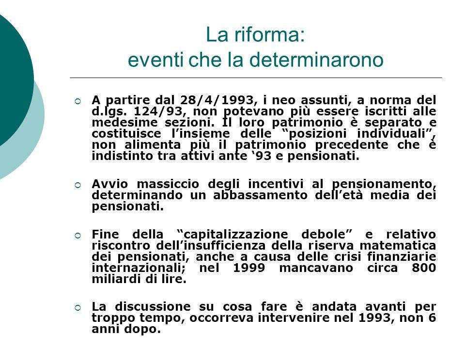 La riforma: eventi che la determinarono A partire dal 28/4/1993, i neo assunti, a norma del d.lgs. 124/93, non potevano più essere iscritti alle medes