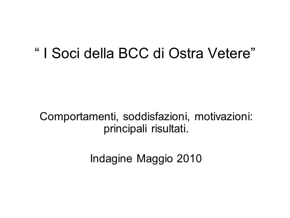 I Soci della BCC di Ostra Vetere Comportamenti, soddisfazioni, motivazioni: principali risultati.