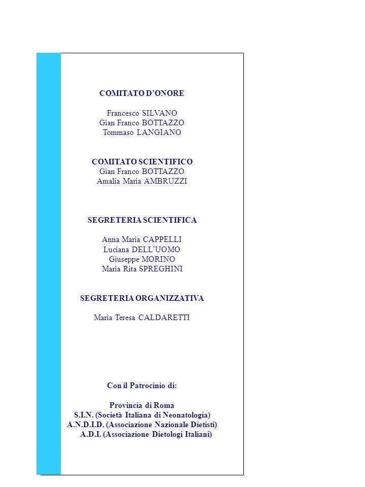COMITATO DONORE Francesco SILVANO Gian Franco BOTTAZZO Tommaso LANGIANO COMITATO SCIENTIFICO Gian Franco BOTTAZZO Amalia Maria AMBRUZZI SEGRETERIA SCIENTIFICA Anna Maria CAPPELLI Luciana DELLUOMO Giuseppe MORINO Maria Rita SPREGHINI SEGRETERIA ORGANIZZATIVA Maria Teresa CALDARETTI Con il Patrocinio di: Provincia di Roma S.I.N.