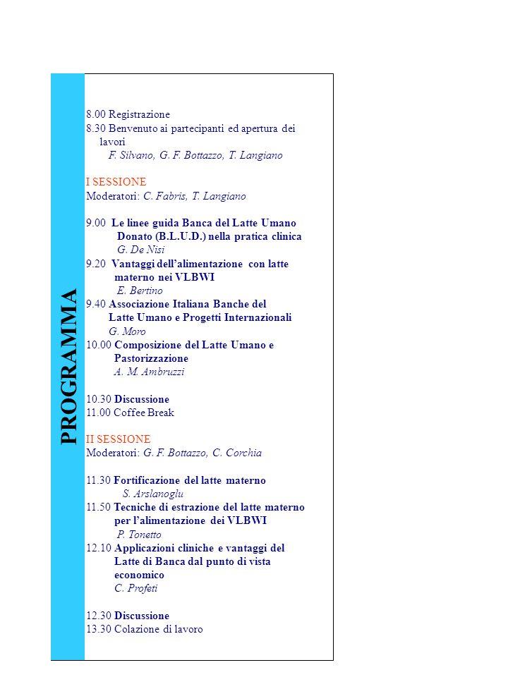 8.00 Registrazione 8.30 Benvenuto ai partecipanti ed apertura dei lavori F. Silvano, G. F. Bottazzo, T. Langiano I SESSIONE Moderatori: C. Fabris, T.