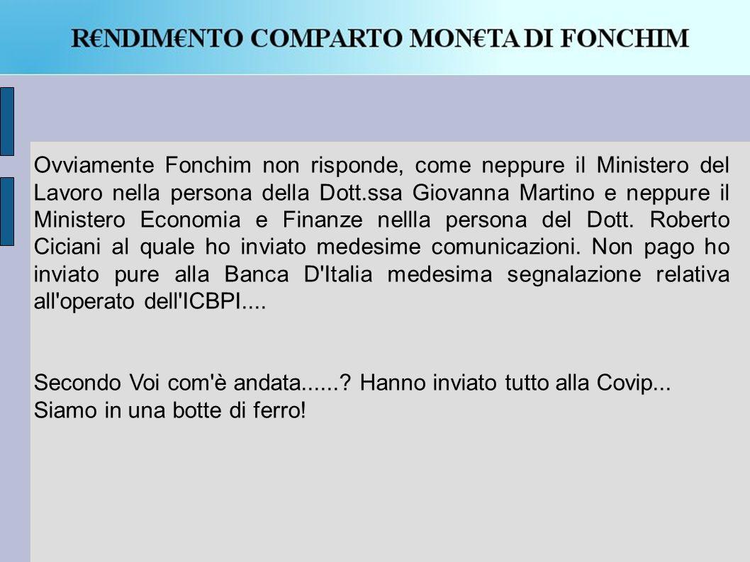 Ovviamente Fonchim non risponde, come neppure il Ministero del Lavoro nella persona della Dott.ssa Giovanna Martino e neppure il Ministero Economia e Finanze nellla persona del Dott.
