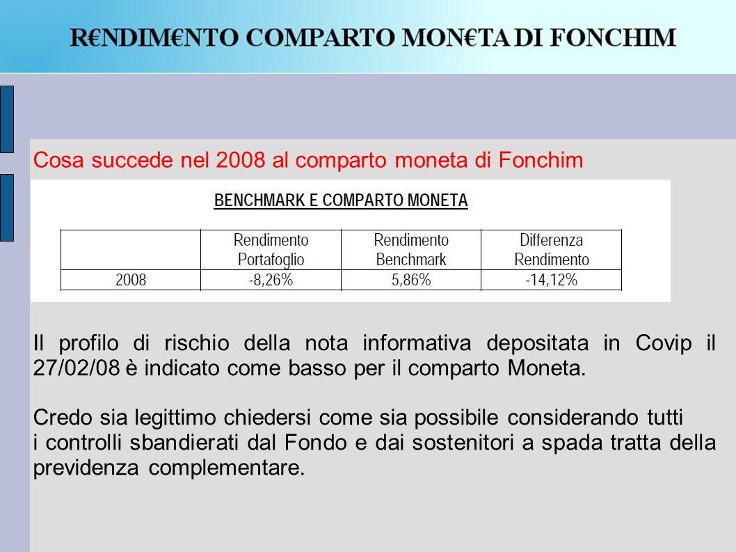 Il profilo di rischio della nota informativa depositata in Covip il 27/02/08 è indicato come basso per il comparto Moneta.