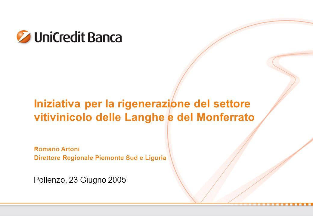 Pollenzo, 23 Giugno 2005 Iniziativa per la rigenerazione del settore vitivinicolo delle Langhe e del Monferrato Romano Artoni Direttore Regionale Piemonte Sud e Liguria