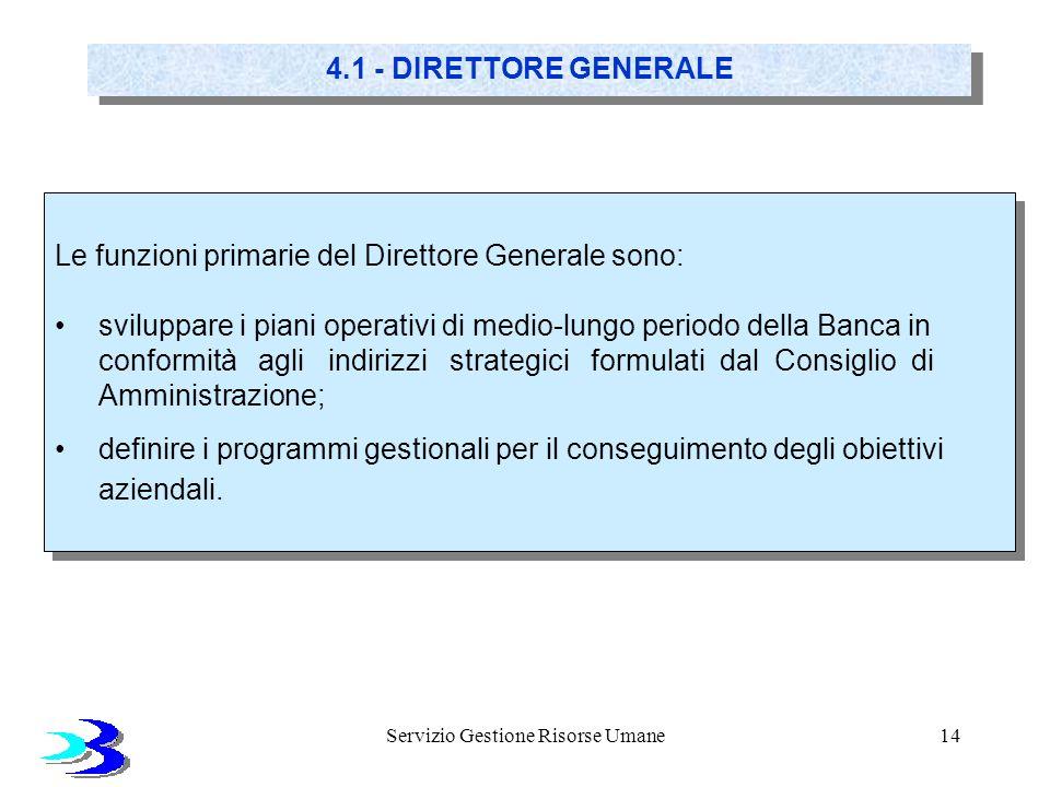 Servizio Gestione Risorse Umane14 4.1 - DIRETTORE GENERALE Le funzioni primarie del Direttore Generale sono: sviluppare i piani operativi di medio-lun