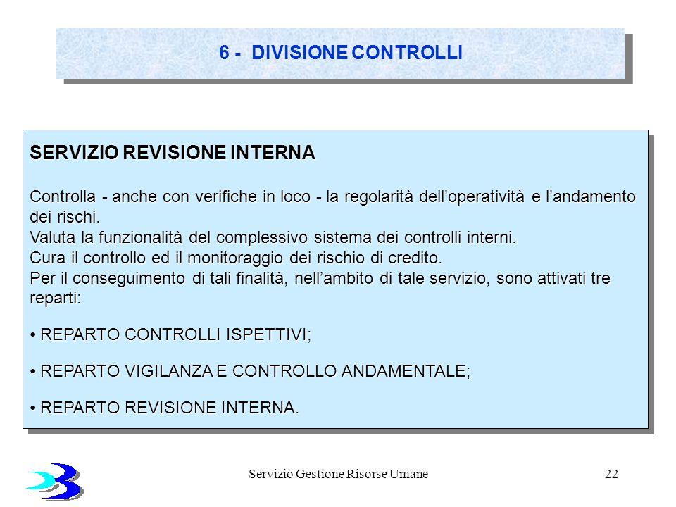 Servizio Gestione Risorse Umane22 6 - DIVISIONE CONTROLLI SERVIZIO REVISIONE INTERNA Controlla - anche con verifiche in loco - la regolarità dellopera