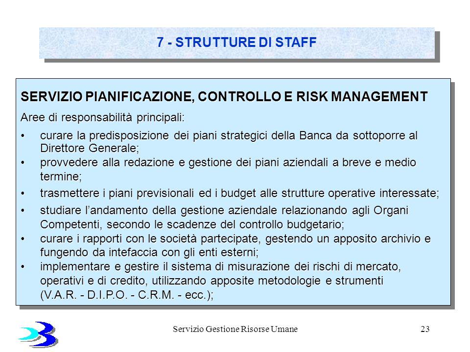 Servizio Gestione Risorse Umane23 7 - STRUTTURE DI STAFF SERVIZIO PIANIFICAZIONE, CONTROLLO E RISK MANAGEMENT Aree di responsabilità principali: curar