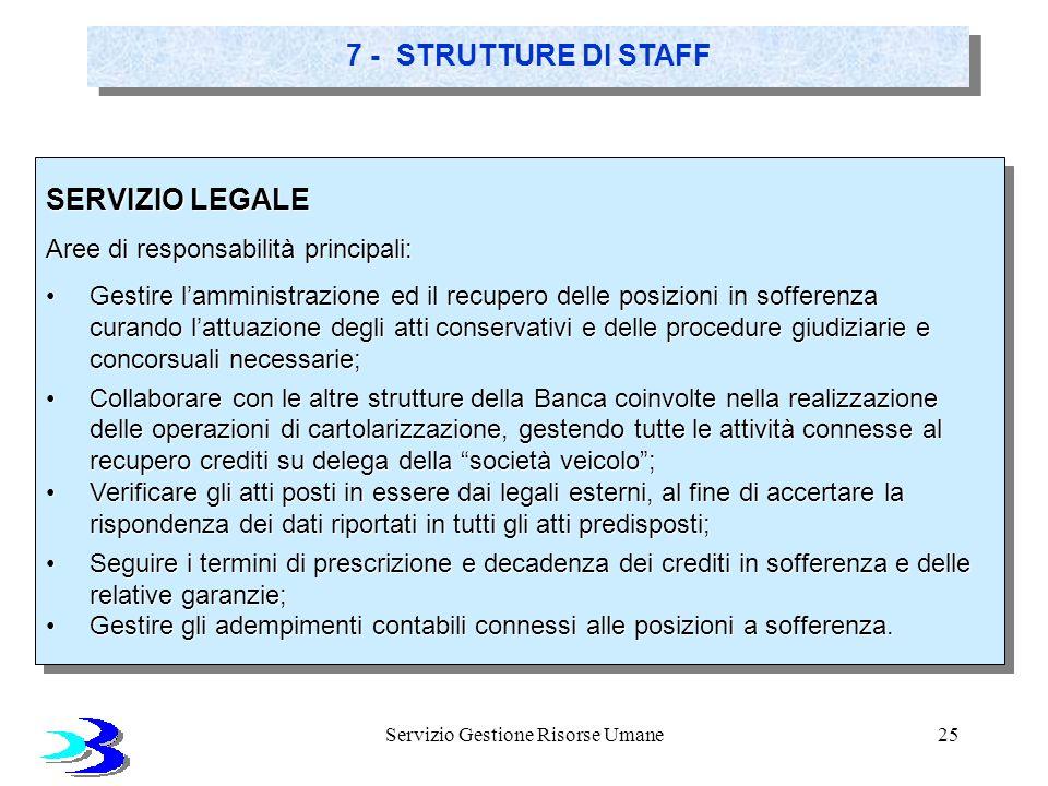 Servizio Gestione Risorse Umane25 7 - STRUTTURE DI STAFF SERVIZIO LEGALE Aree di responsabilità principali: Gestire lamministrazione ed il recupero de
