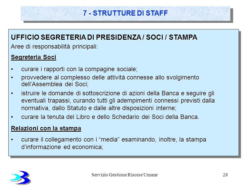 Servizio Gestione Risorse Umane28 7 - STRUTTURE DI STAFF UFFICIO SEGRETERIA DI PRESIDENZA / SOCI / STAMPA Aree di responsabilità principali: Segreteri