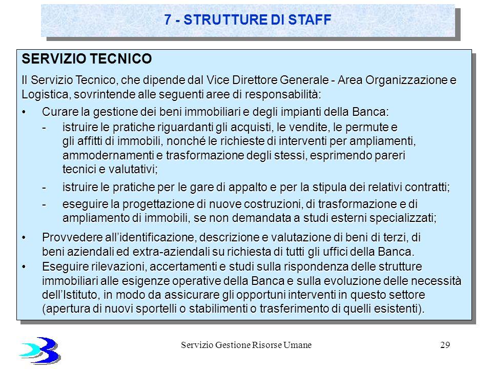 Servizio Gestione Risorse Umane29 SERVIZIO TECNICO Il Servizio Tecnico, che dipende dal Vice Direttore Generale - Area Organizzazione e Logistica, sov