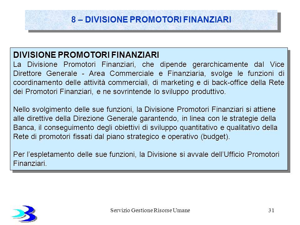 Servizio Gestione Risorse Umane31 8 – DIVISIONE PROMOTORI FINANZIARI DIVISIONE PROMOTORI FINANZIARI La Divisione Promotori Finanziari, che dipende ger