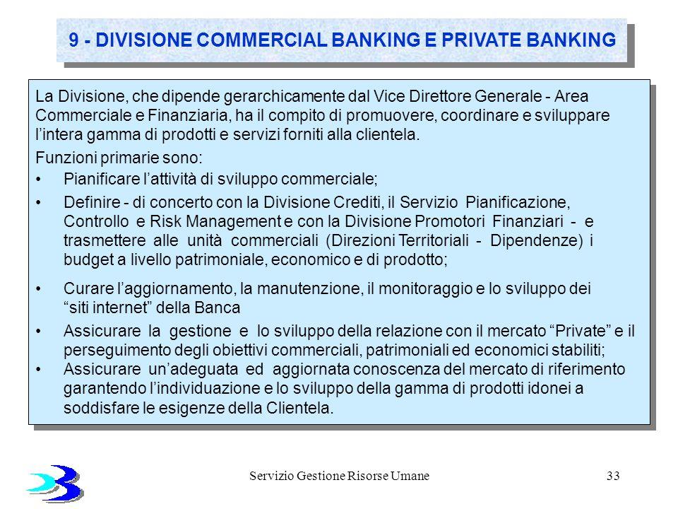Servizio Gestione Risorse Umane33 9 - DIVISIONE COMMERCIAL BANKING E PRIVATE BANKING La Divisione, che dipende gerarchicamente dal Vice Direttore Gene