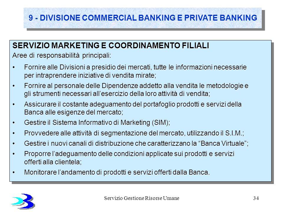 Servizio Gestione Risorse Umane34 9 - DIVISIONE COMMERCIAL BANKING E PRIVATE BANKING SERVIZIO MARKETING E COORDINAMENTO FILIALI Aree di responsabilità