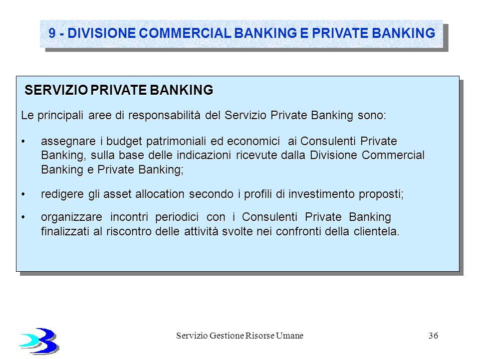 Servizio Gestione Risorse Umane36 9 - DIVISIONE COMMERCIAL BANKING E PRIVATE BANKING SERVIZIO PRIVATE BANKING SERVIZIO PRIVATE BANKING Le principali a