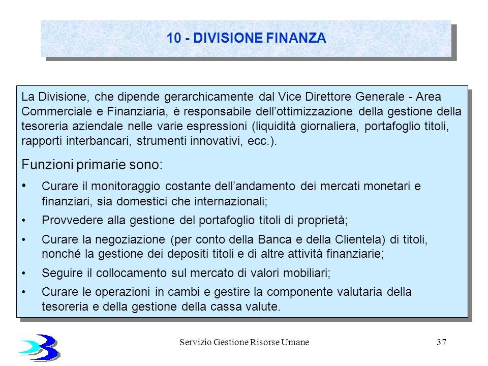 Servizio Gestione Risorse Umane37 10 - DIVISIONE FINANZA La Divisione, che dipende gerarchicamente dal Vice Direttore Generale - Area Commerciale e Fi