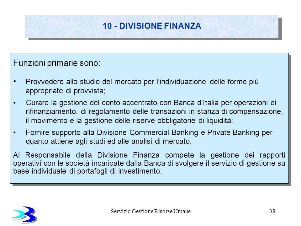 Servizio Gestione Risorse Umane38 10 - DIVISIONE FINANZA Funzioni primarie sono: Provvedere allo studio del mercato per lindividuazione delle forme pi