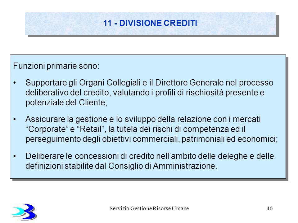 Servizio Gestione Risorse Umane40 11 - DIVISIONE CREDITI Funzioni primarie sono: Supportare gli Organi Collegiali e il Direttore Generale nel processo