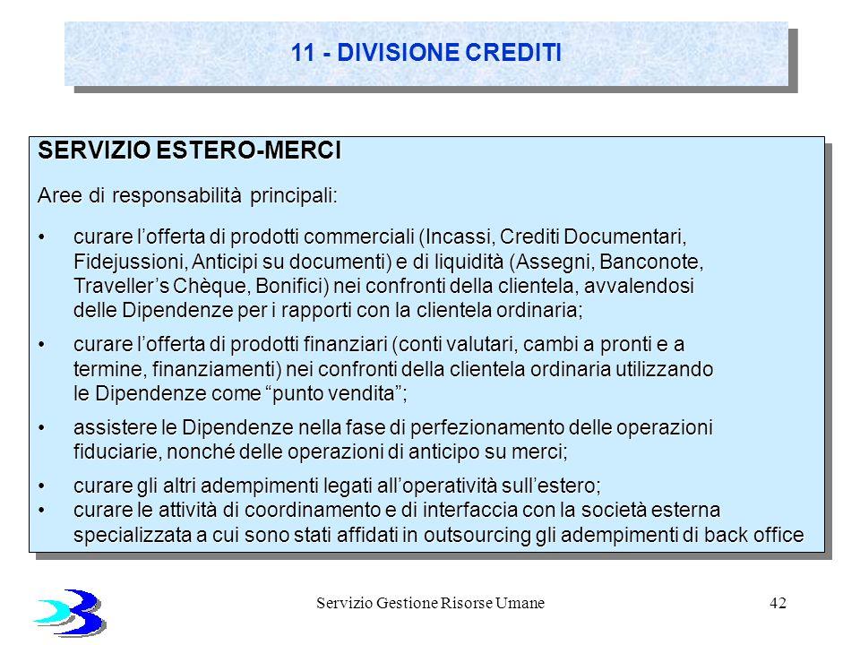 Servizio Gestione Risorse Umane42 11 - DIVISIONE CREDITI SERVIZIO ESTERO-MERCI Aree di responsabilità principali: curare lofferta di prodotti commerci