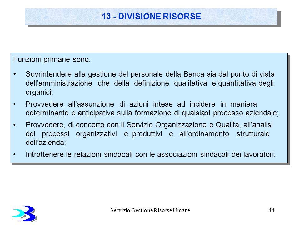 Servizio Gestione Risorse Umane44 13 - DIVISIONE RISORSE Funzioni primarie sono: Sovrintendere alla gestione del personale della Banca sia dal punto d