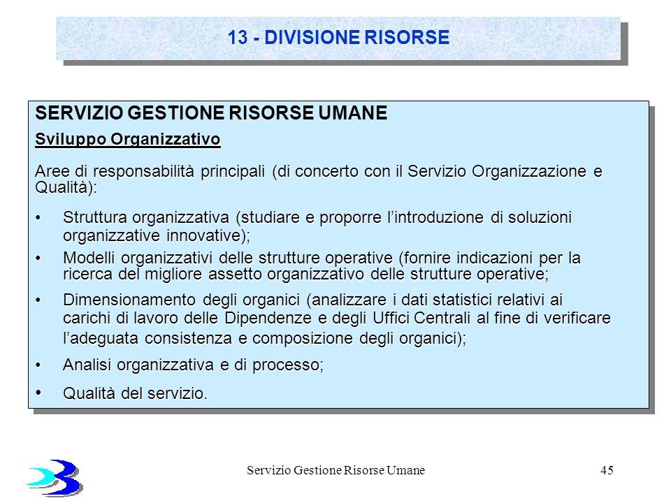 Servizio Gestione Risorse Umane45 13 - DIVISIONE RISORSE SERVIZIO GESTIONE RISORSE UMANE Sviluppo Organizzativo Aree di responsabilità principali (di