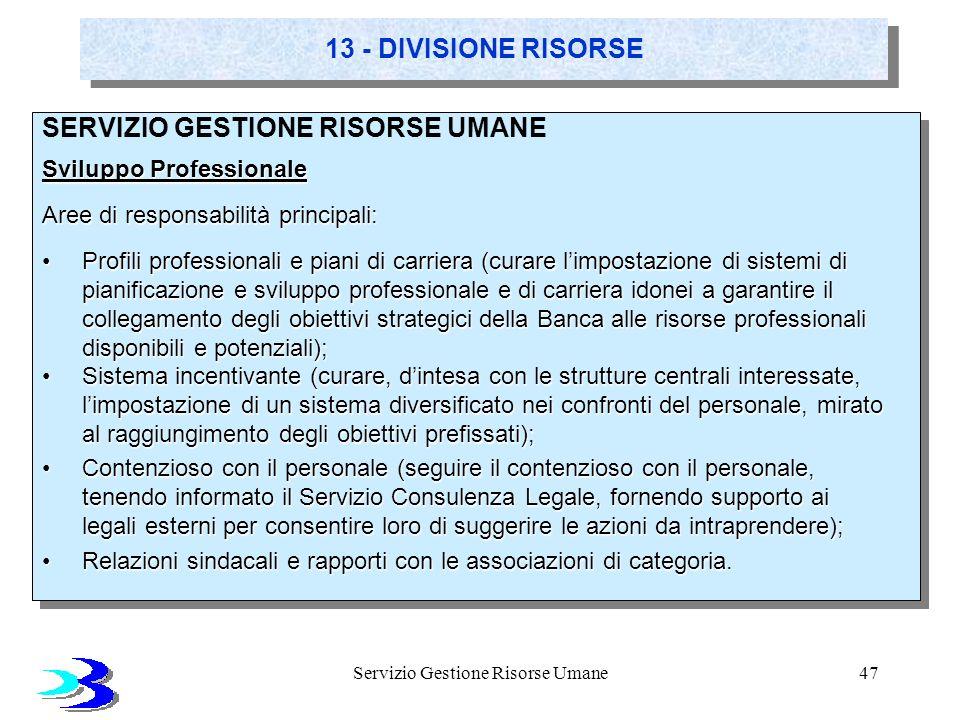 Servizio Gestione Risorse Umane47 13 - DIVISIONE RISORSE SERVIZIO GESTIONE RISORSE UMANE Sviluppo Professionale Aree di responsabilità principali: Pro