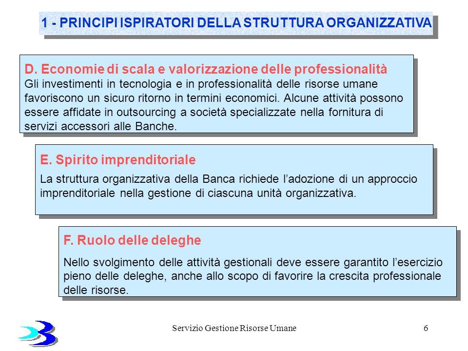 Servizio Gestione Risorse Umane6 1 - PRINCIPI ISPIRATORI DELLA STRUTTURA ORGANIZZATIVA D. Economie di scala e valorizzazione delle professionalità Gli