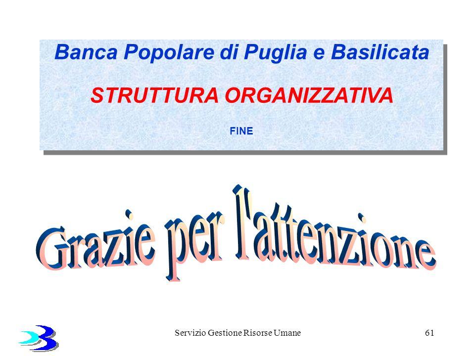 Servizio Gestione Risorse Umane61 Banca Popolare di Puglia e Basilicata STRUTTURA ORGANIZZATIVA FINE Banca Popolare di Puglia e Basilicata STRUTTURA O