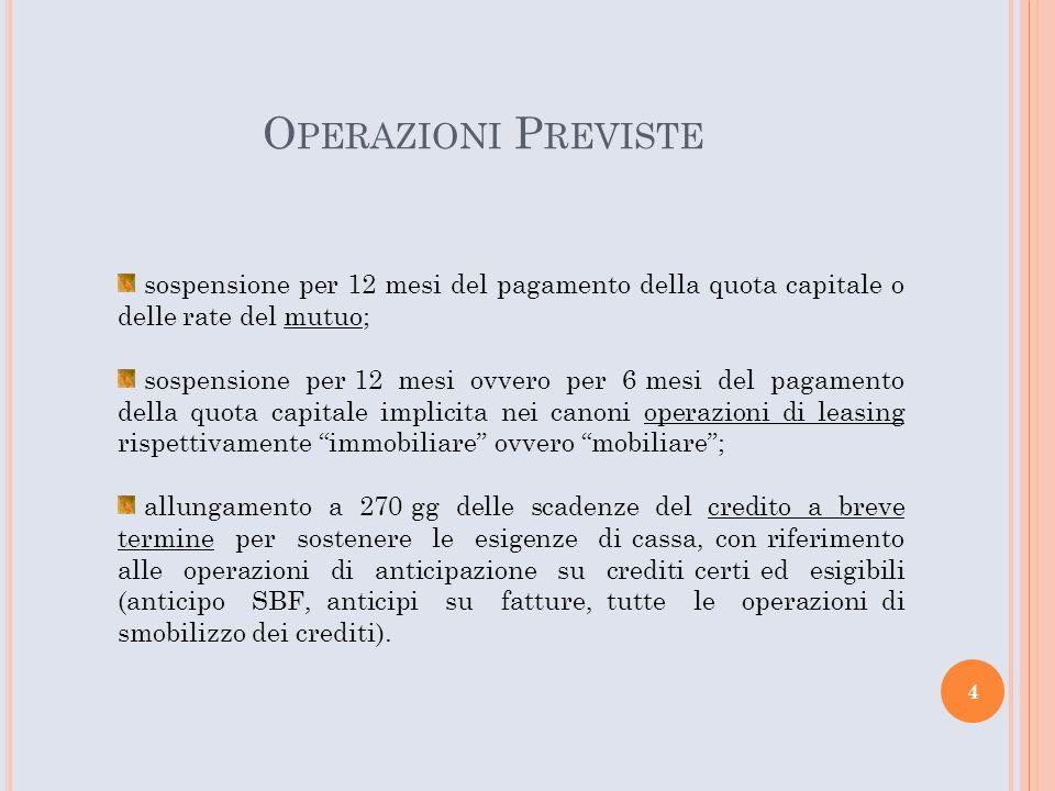 O PERAZIONI P REVISTE non sono ammessi i finanziamenti su anticipazioni su contratti; non sono ammessi i mutui con agevolazione pubblica (conto interessi e/o capitale); non è ammesso il leasing operativo (il leasing finanziario sì).
