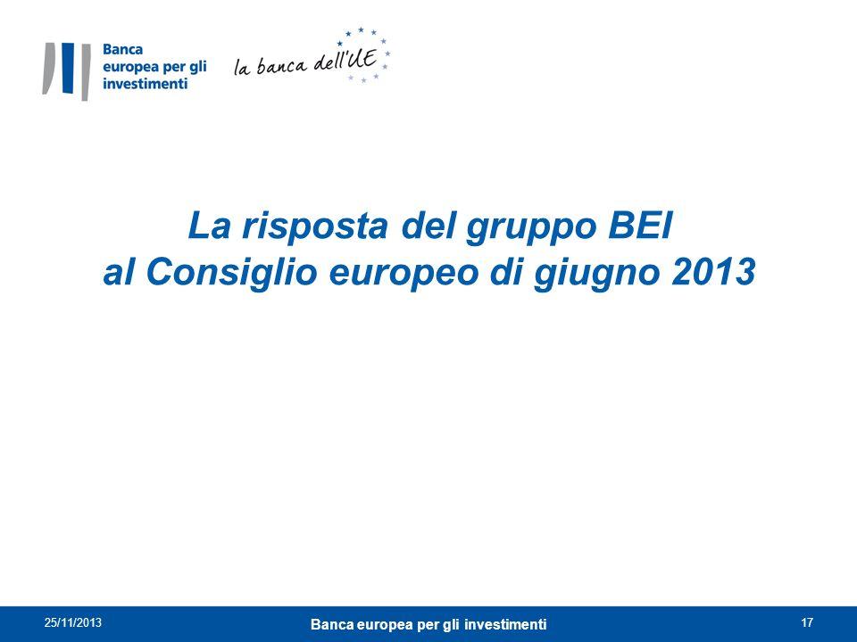 La risposta del gruppo BEI al Consiglio europeo di giugno 2013 Banca europea per gli investimenti 25/11/201317
