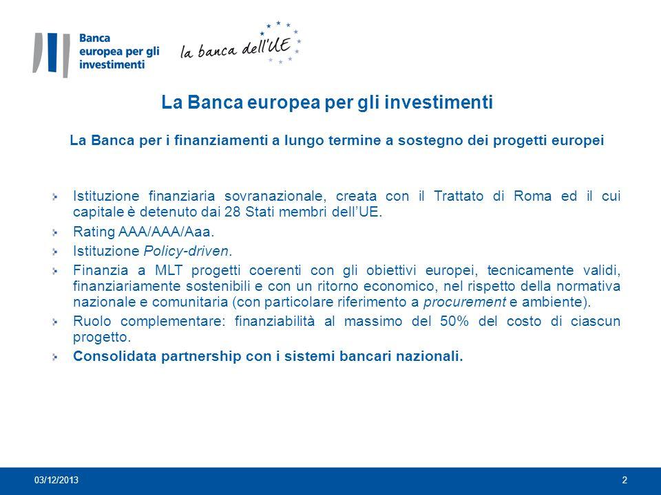 La Banca europea per gli investimenti La Banca per i finanziamenti a lungo termine a sostegno dei progetti europei Istituzione finanziaria sovranazionale, creata con il Trattato di Roma ed il cui capitale è detenuto dai 28 Stati membri dellUE.