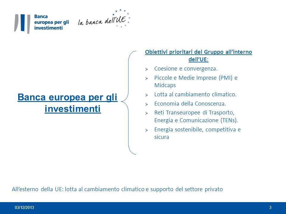 3 Banca europea per gli investimenti Obiettivi prioritari del Gruppo allinterno dellUE: Coesione e convergenza.