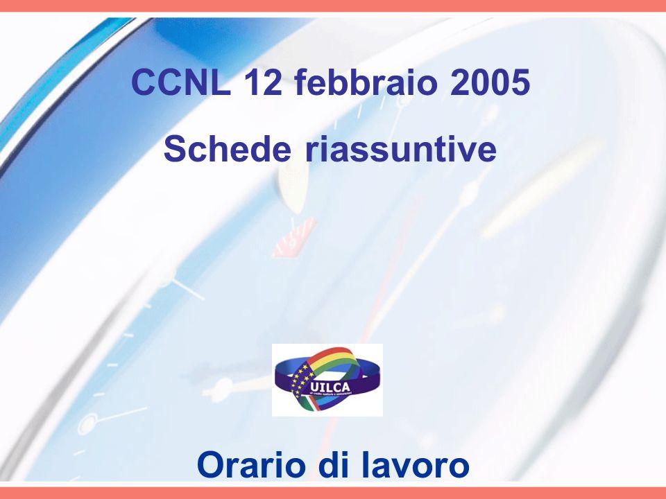 CCNL 12 febbraio 2005 Schede riassuntive Orario di lavoro