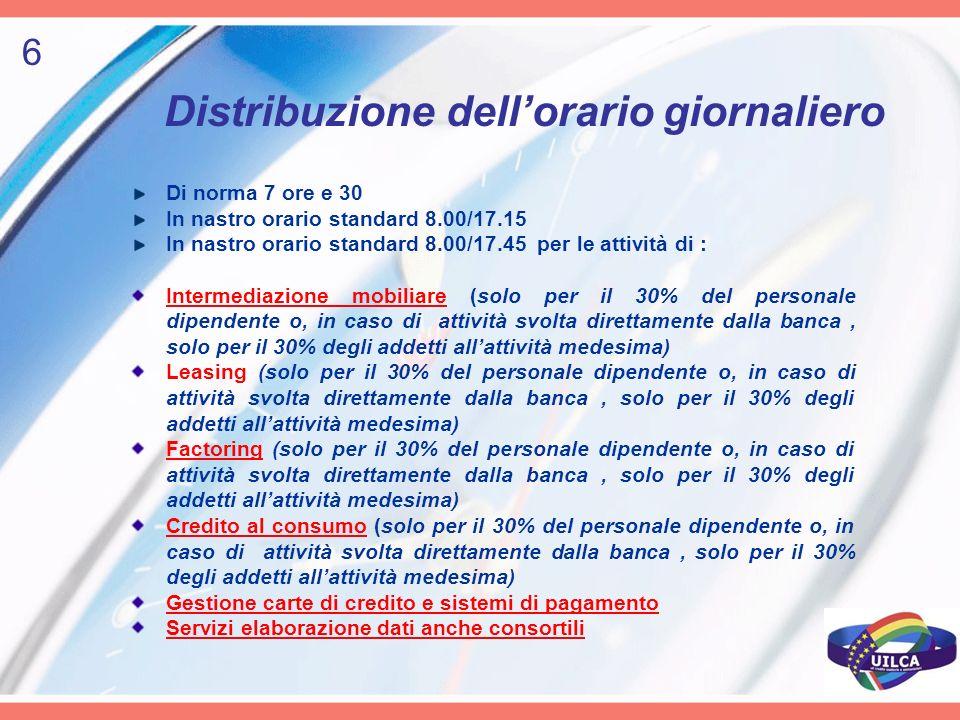 Distribuzione dellorario giornaliero Di norma 7 ore e 30 In nastro orario standard 8.00/17.15 In nastro orario standard 8.00/17.45 per le attività di