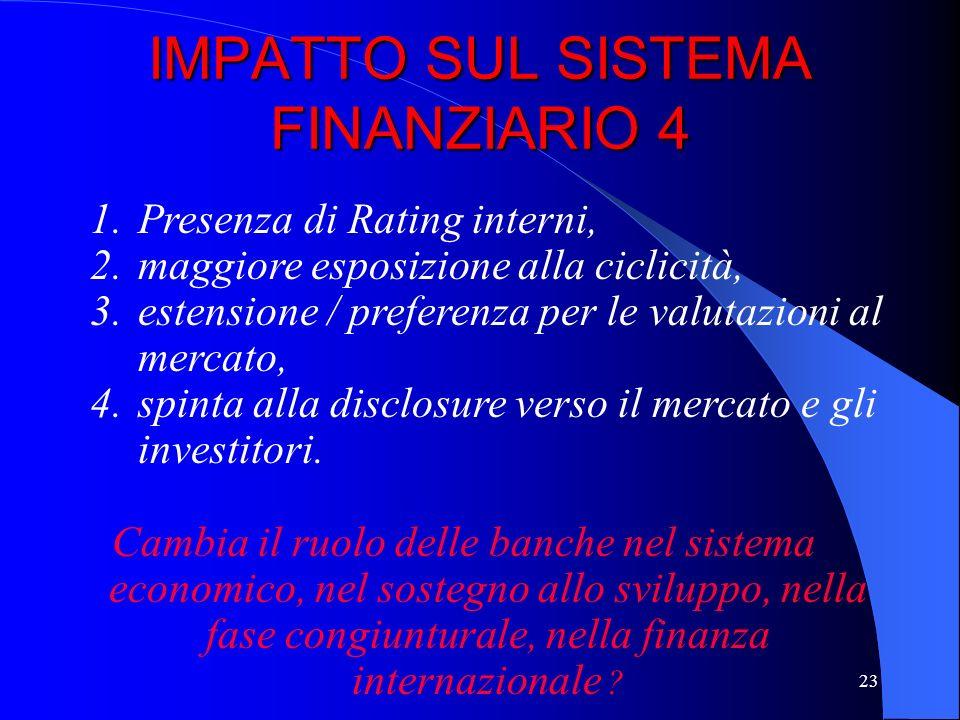 22 IMPATTO SUL SISTEMA FINANZIARIO 3 E probabile una spinta alla specializzazione per loperatività nellarea equity ed in quella del finanziamento dell