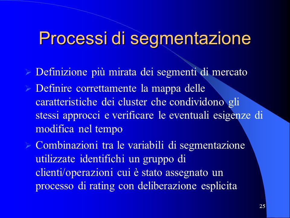 24 Rating e offerta bancaria Processi di segmentazione Molteplicità dei sistemi di rating Transactional lending vs relationship lending Dimensioni Ori