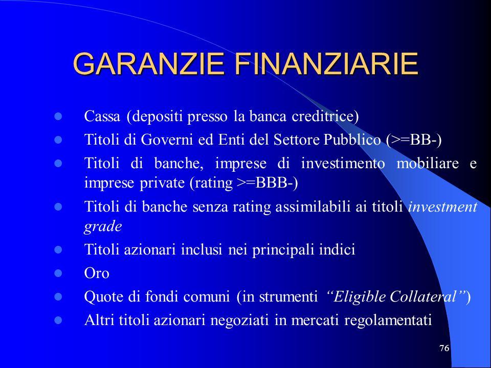 75 GARANZIE FINANZIARIE CERTEZZA LEGALE (esercitabilità in caso di inadempienza, fallimento o insolvenza del debitore) CORRELAZIONE NON SIGNIFICATIVA