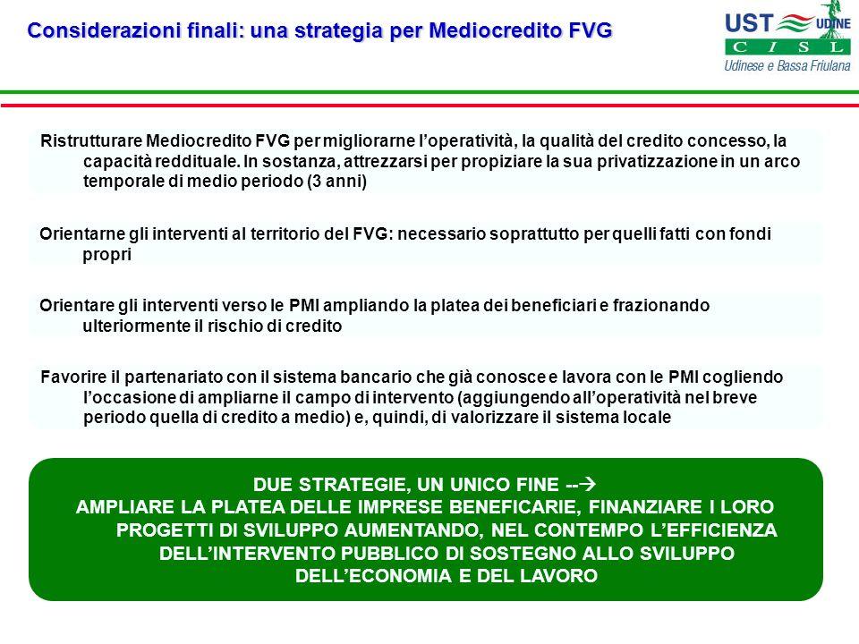 Considerazioni finali: una strategia per Mediocredito FVG Orientarne gli interventi al territorio del FVG: necessario soprattutto per quelli fatti con
