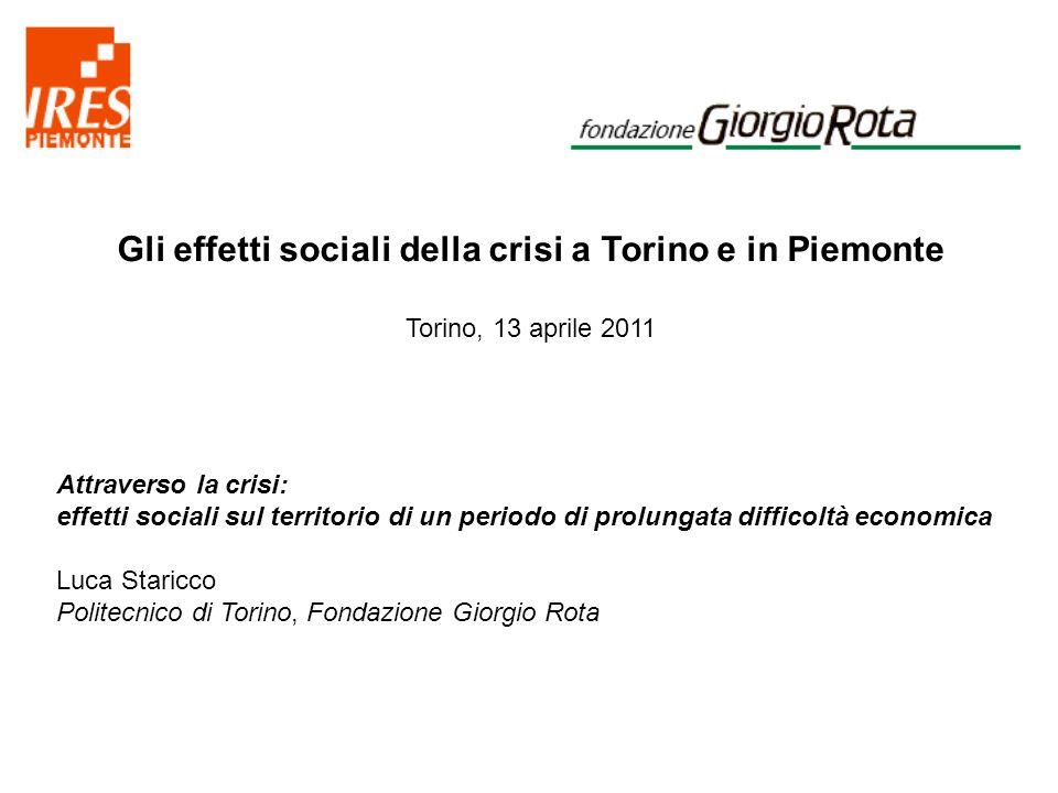 Gli effetti sociali della crisi a Torino e in Piemonte Torino, 13 aprile 2011 Variazione % 2008-09 dei suicidi e tentativi di suicidi nelle province metropolitane (valori percentuali) Fonte: Istat