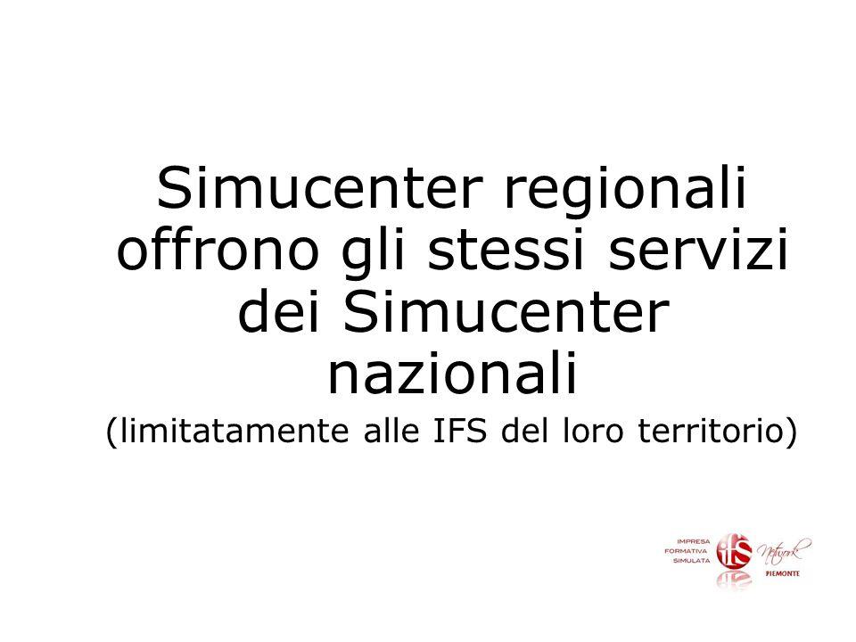 MOTIVAZIONI COSTITUZIONE SIMUCENTER REGIONALI 1.Difficoltà di gestione nazionale dovuta alla massiccia adesione al progetto 2.Maggior operatività a livello locale e sviluppo dellinterazione tra le IFS della regione