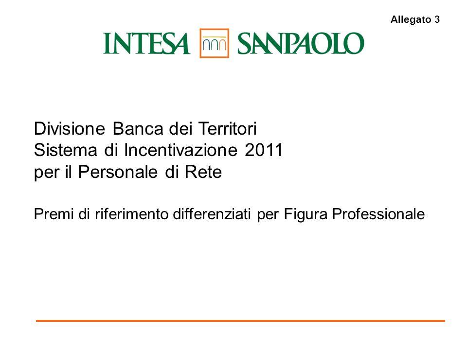 1 Divisione Banca dei Territori Sistema di Incentivazione 2011 per il Personale di Rete Premi di riferimento differenziati per Figura Professionale Allegato 3