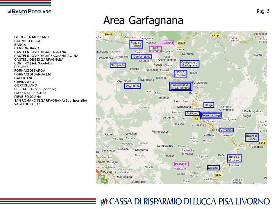 Pag. 5 Area Garfagnana BORGO A MOZZANO BAGNI DI LUCCA BARGA CAMPORGIANO CASTELNUOVO DI GARFAGNANA CASTELNUOVO DI GARFAGNANA AG. N.1 CASTIGLIONE DI GAR