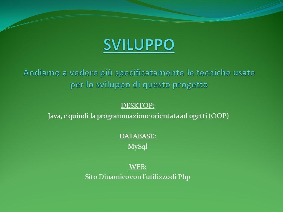 DESKTOP: Java, e quindi la programmazione orientata ad ogetti (OOP) DATABASE: MySql WEB: Sito Dinamico con lutilizzo di Php